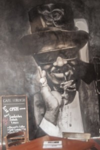 Image taken from Kirk's album RETURN OF THE 5000 lb. MAN and rendered 10 feet tall on the wall to the immediate left upon entering Café Stritch.