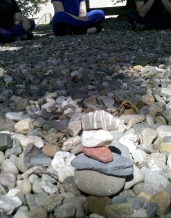 The Waymaking Cairn came into being in the presence of the 12 members of the Listening Body workshop facilitated by Heloise Gold on RPI's campus in Troy, New York
